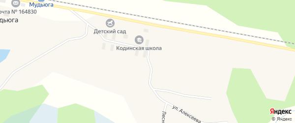 Линейный переулок на карте поселка Мудьюги с номерами домов