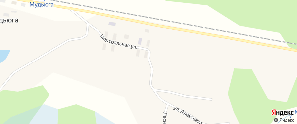Улица Дмитрия Алексеева на карте поселка Мудьюги с номерами домов