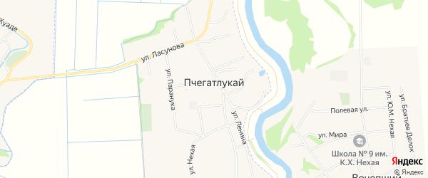Карта аула Пчегатлукая в Адыгее с улицами и номерами домов