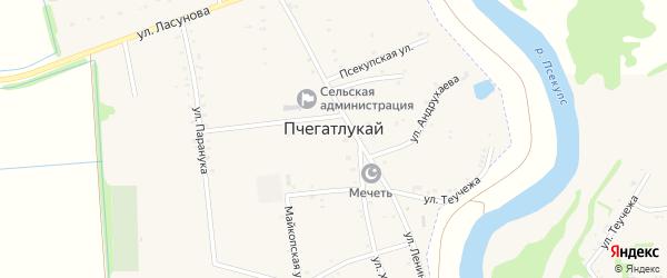 Улица Р.Хуако на карте аула Пчегатлукая с номерами домов