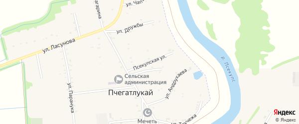 Псекупская улица на карте аула Пчегатлукая с номерами домов