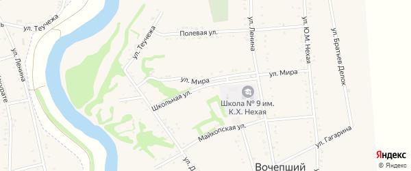 Школьная улица на карте Вочепший аула с номерами домов