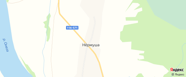 Карта деревни Нермуши в Архангельской области с улицами и номерами домов