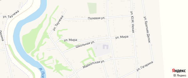 Улица Мира на карте Вочепший аула с номерами домов