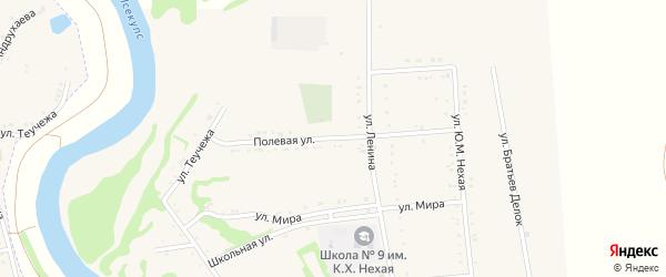 Полевая улица на карте Вочепший аула с номерами домов