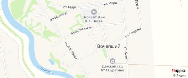 Широкая улица на карте Вочепший аула с номерами домов