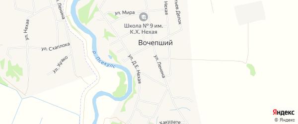 Карта Вочепший аула в Адыгее с улицами и номерами домов