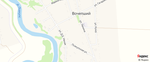 Улица Кима Нехай на карте Вочепший аула с номерами домов