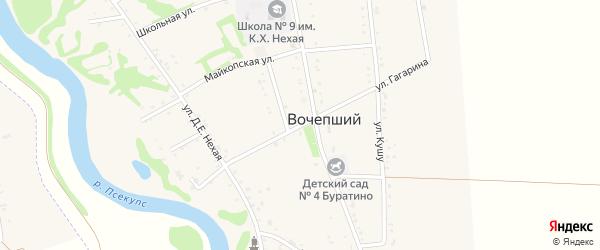 Улица Гагарина на карте Вочепший аула с номерами домов