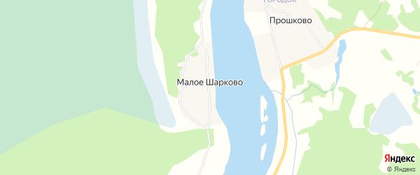 Карта деревни Малое Шарково в Архангельской области с улицами и номерами домов