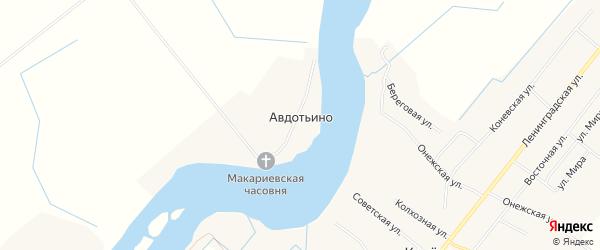 Карта деревни Авдотьино в Архангельской области с улицами и номерами домов