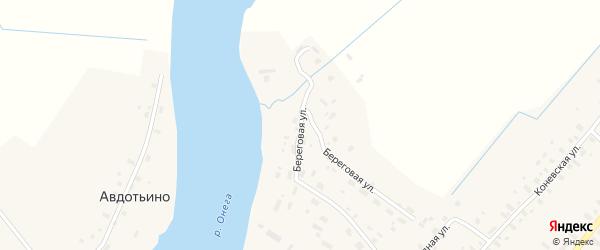 Береговая улица на карте села Конево с номерами домов