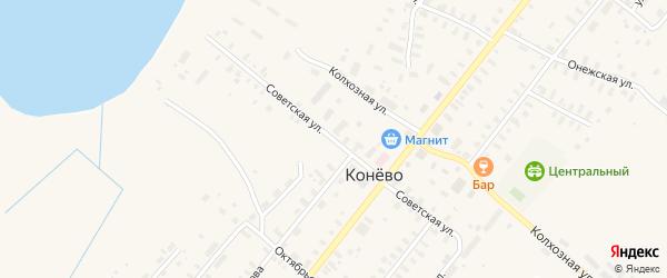 Советская улица на карте села Конево с номерами домов