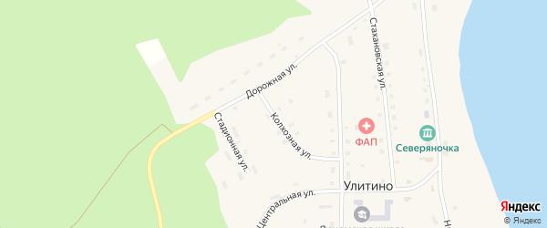 Колхозная улица на карте поселка Улитино с номерами домов