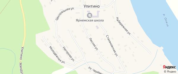Лесная улица на карте поселка Улитино с номерами домов
