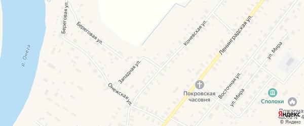 Западная улица на карте села Конево с номерами домов