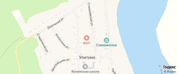 Молодежная улица на карте поселка Улитино с номерами домов