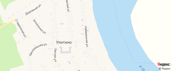 Набережная улица на карте поселка Улитино с номерами домов