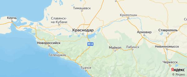 Карта Теучежского района республики Адыгея с городами и населенными пунктами