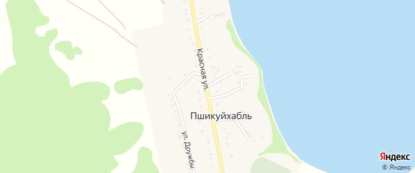 Красная улица на карте аула Пшикуйхабль с номерами домов