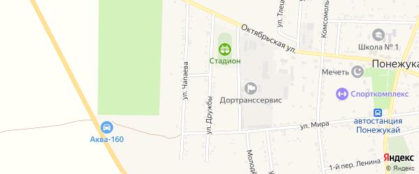 Улица Дружбы на карте аула Понежукай с номерами домов