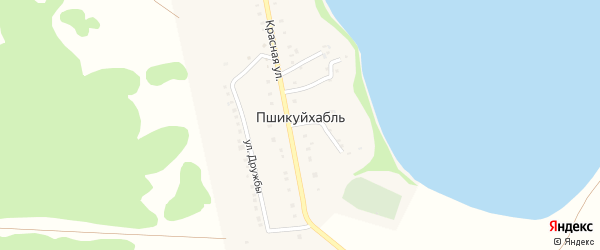 Красный 1-й переулок на карте аула Пшикуйхабль с номерами домов