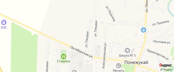 Улица Тлецери на карте аула Понежукай с номерами домов