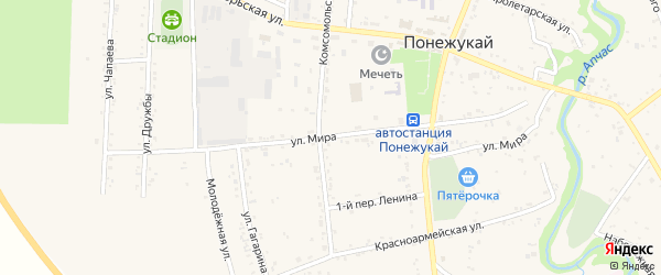 Улица Мира на карте аула Понежукай с номерами домов