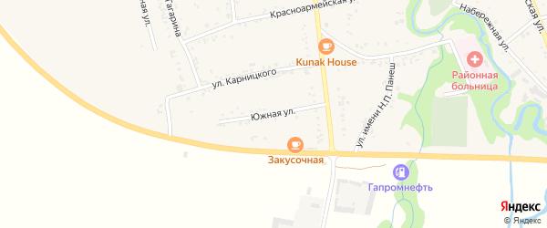 Южная улица на карте аула Понежукай с номерами домов
