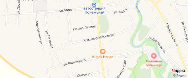 Красноармейская улица на карте аула Понежукай с номерами домов