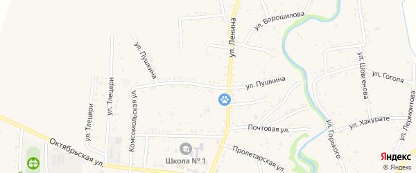 Улица Пушкина на карте аула Понежукай с номерами домов