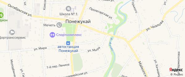 Октябрьский 1-й переулок на карте аула Понежукай с номерами домов