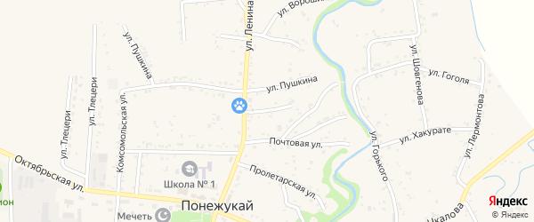 Ленина 3-й переулок на карте аула Понежукай с номерами домов