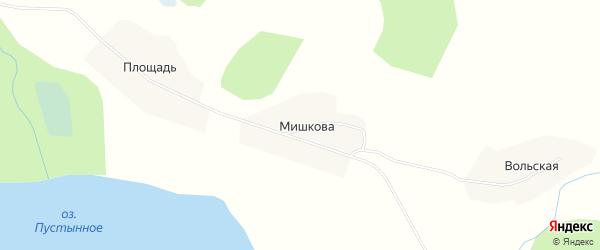 Карта деревни Мишково в Архангельской области с улицами и номерами домов