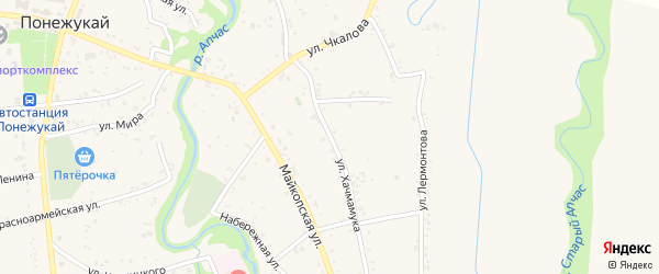 Улица М.Горького на карте аула Понежукай с номерами домов