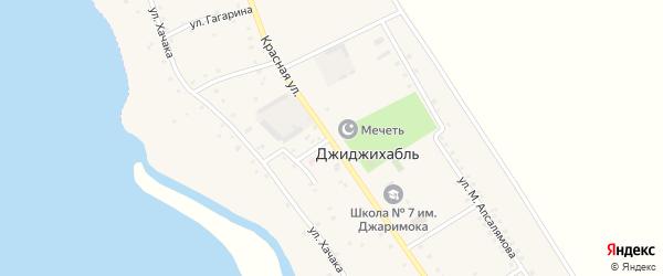 Красная улица на карте аула Джиджихабля с номерами домов