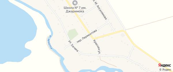 Переулок Лермонтова на карте аула Джиджихабля с номерами домов