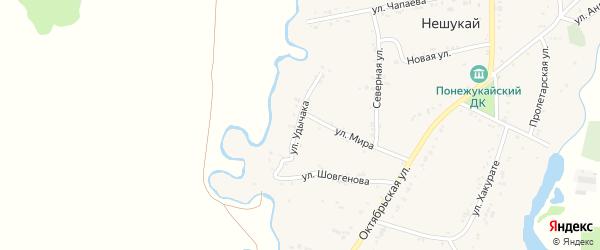 Улица Я.Удычака на карте аула Нешукай с номерами домов