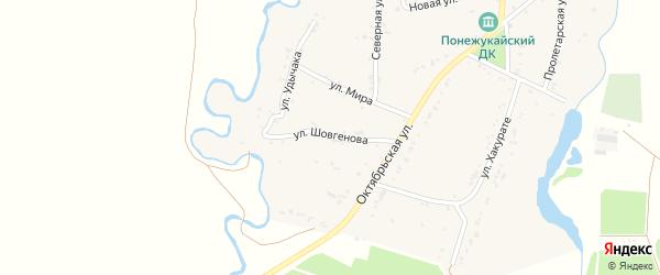 Улица Шовгенова на карте аула Нешукай с номерами домов