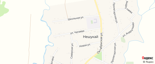 Улица Чапаева на карте аула Нешукай с номерами домов