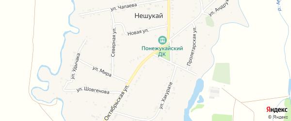 Октябрьская улица на карте аула Нешукай с номерами домов