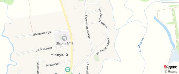 Пролетарская улица на карте аула Нешукай с номерами домов