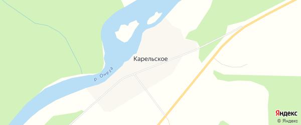 Карта деревни Карельского в Архангельской области с улицами и номерами домов