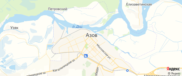 Карта Азова с районами, улицами и номерами домов