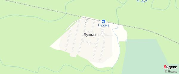 Карта поселка Лужмы в Архангельской области с улицами и номерами домов