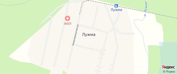 Комсомольская улица на карте поселка Лужмы с номерами домов