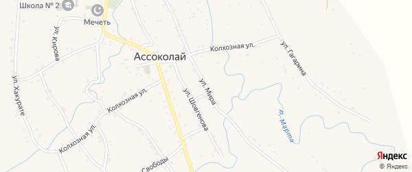 Улица Мира на карте аула Ассоколая с номерами домов