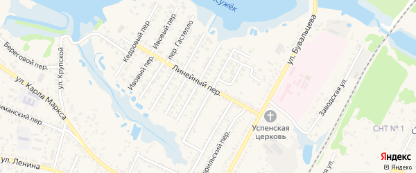 Линейный переулок на карте Кореновска с номерами домов