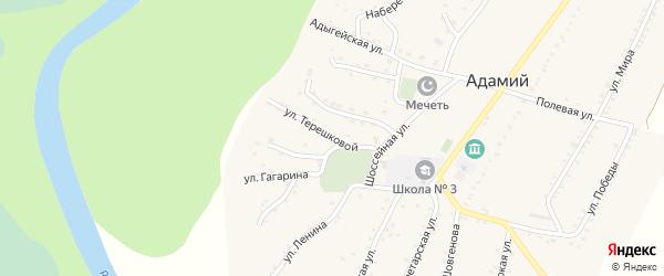 Улица Терешковой на карте Адамия аула с номерами домов