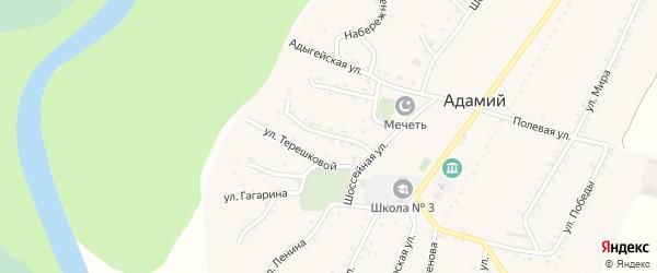 Улица им М.И.Кудаева на карте Адамия аула с номерами домов